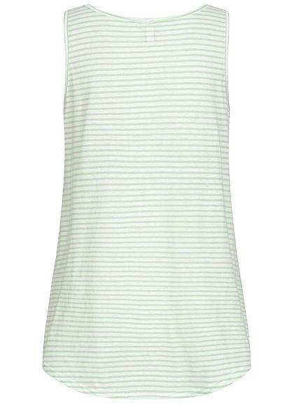 Seventyseven Lifestyle Damen Vokuhila Long Top Bindedetail vorn Streifen Muster jade grün