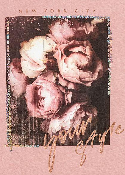 Seventyseven Lifestyle Damen Kurzarm T-Shirt Rosen Print & Glitzer Pailletten rosa