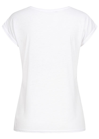 Seventyseven Lifestyle Damen Kurzarm T-Shirt Yourself Print Glitzer Pailletten weiss