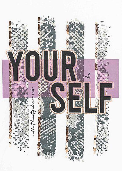 Seventyseven Lifestyle Damen Kurzarm T-Shirt Yourself Print Glitzer Pailletten weiss