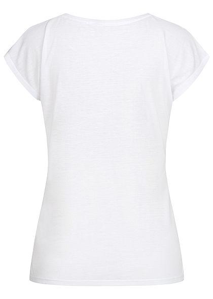 Seventyseven Lifestyle Damen Kurzarm T-Shirt Love Mickey Pailletten weiss kupfer