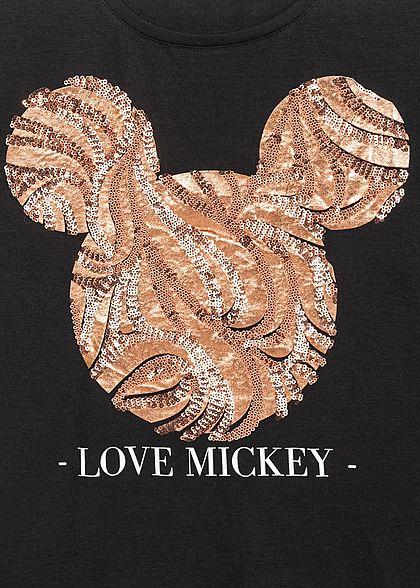 Seventyseven Lifestyle Damen Kurzarm T-Shirt Love Mickey Pailletten schwarz kupfer