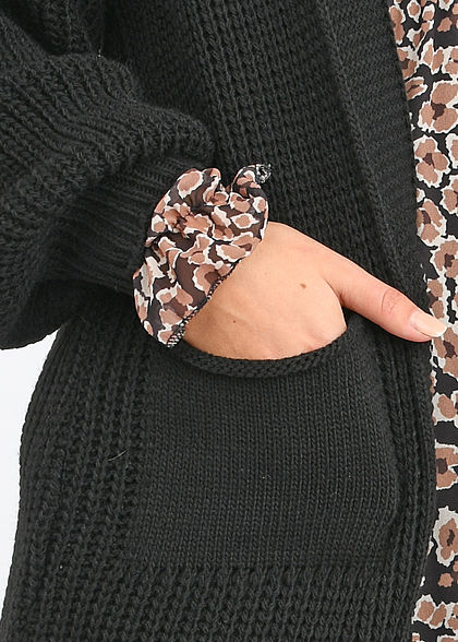Hailys Damen Oversized Longform Puffer Cardigan 2-Pockets schwarz