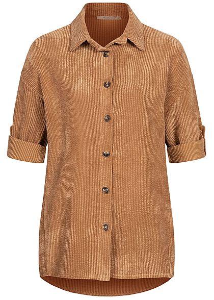 Hailys Damen Turn-Up Bluse in Feinkordoptik Knopfleiste lockerer Schnitt camel braun