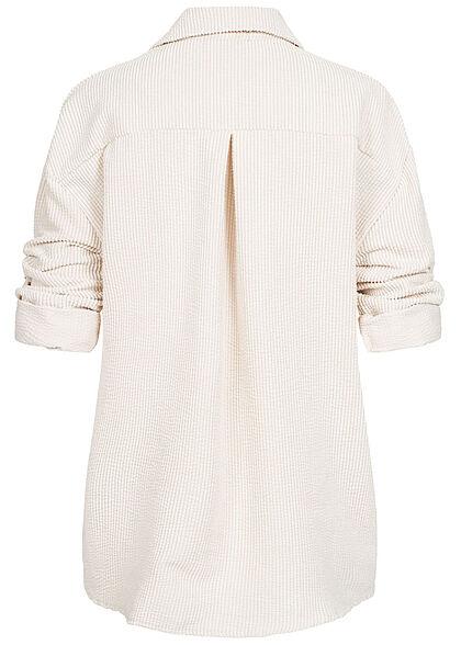 Hailys Damen Turn-Up Bluse in Feinkordoptik Knopfleiste lockerer Schnitt creme beige