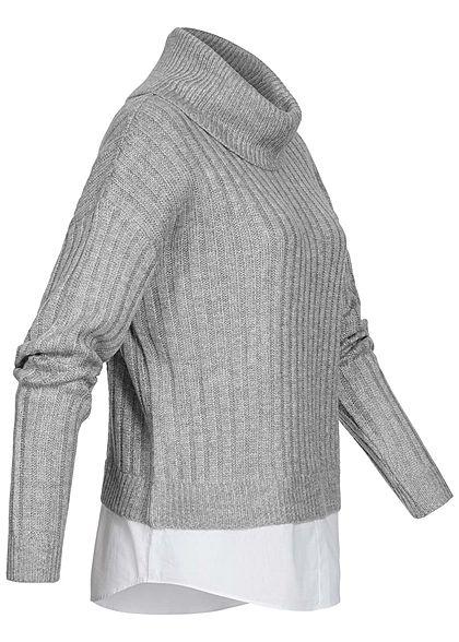 Hailys Damen Oversized Rollkragen Strickpullover mit Bluseneinsatz hell grau weiss