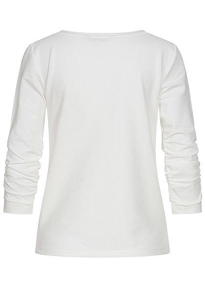 Tom Tailor Damen 3/4 Arm Struktur Pullover off weiss