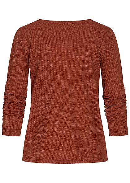 Tom Tailor Damen 3/4 Arm Struktur Pullover rust orange braun