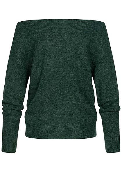 Tom Tailor Damen Off-Shoulder Carmen Strickpullover Sweater midnight forest dunkel grün