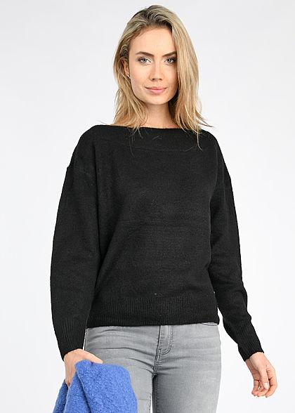 Tom Tailor Damen Off-Shoulder Carmen Strickpullover Sweater deep schwarz
