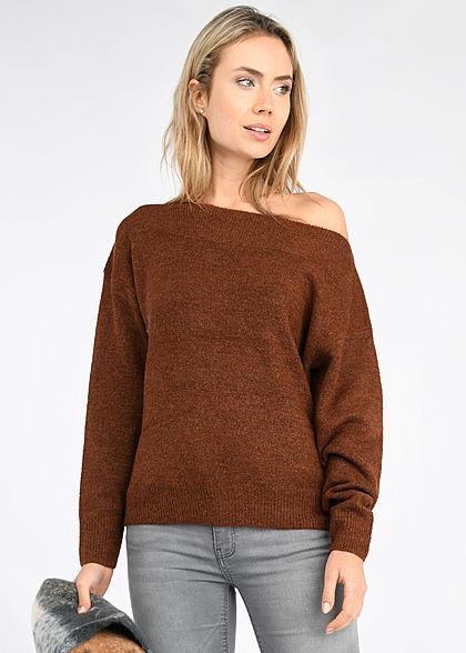 Tom Tailor Damen Off-Shoulder Carmen Strickpullover Sweater rust orange rost braun