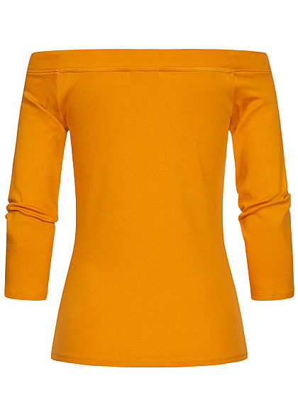 Tom Tailor Damen 3/4 Arm Off-Shoulder Carmen Longsleeve orange gelb