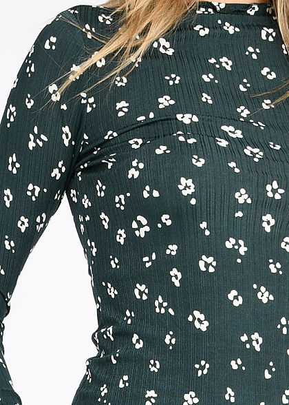 Tom Tailor Damen High-Neck Fineribbed Longsleeve m. Frill Blumen Print grün beige