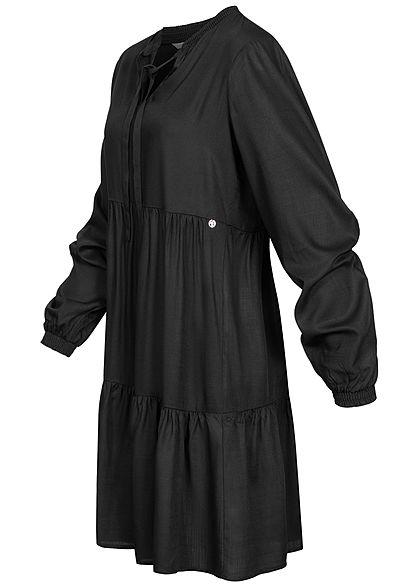 Tom Tailor Damen Babydoll Puffer Kleid mit Bindeschleife am Kragen deep schwarz