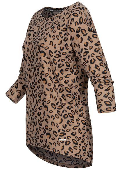 Hailys Damen 3/4 Arm Vokuhila Shirt Leo Print camel braun