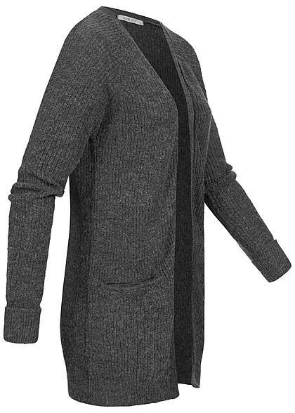Hailys Damen Ribbed Midi Strick Cardigan 2-Pockets offener Schnitt dunkel grau
