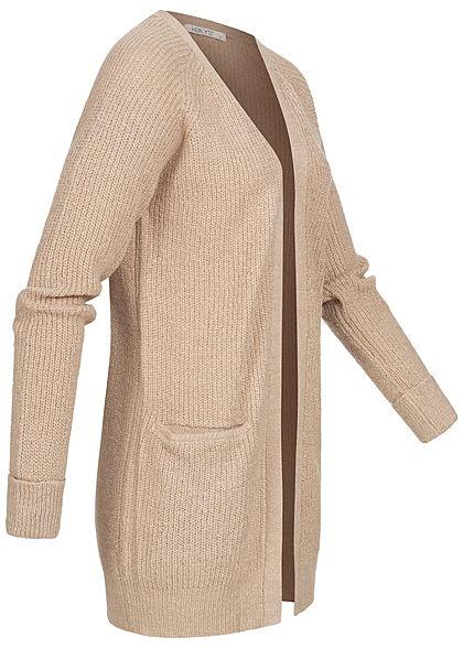 Hailys Damen Ribbed Midi Strick Cardigan 2-Pockets offener Schnitt taupe beige