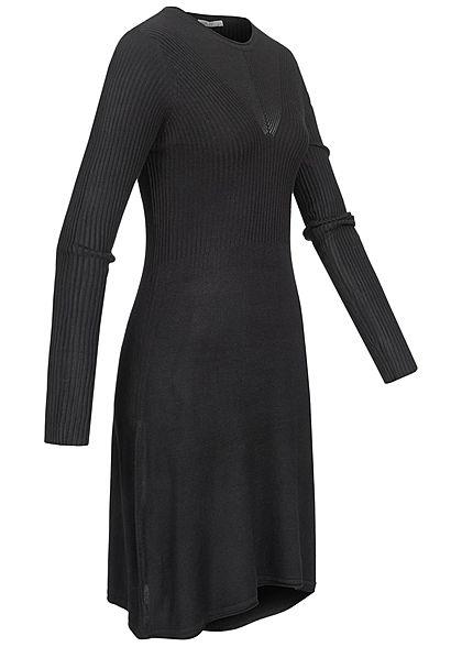 Hailys Damen Ribbed Viskose Langarm Strickkleid schwarz