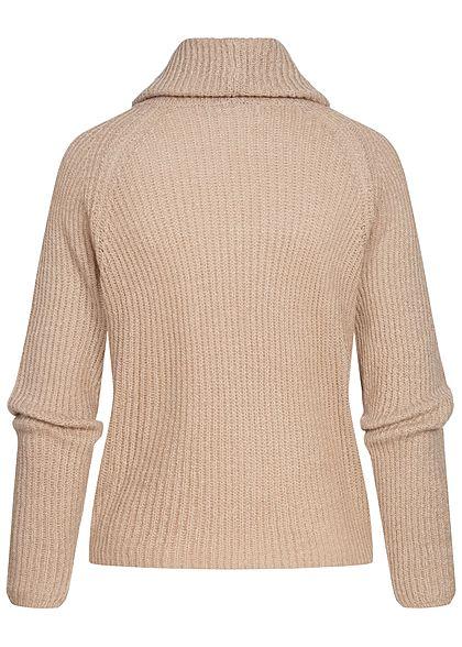 Hailys Damen Ribbed Rollkragen Grobstrickpullover Sweater taupe beige melange