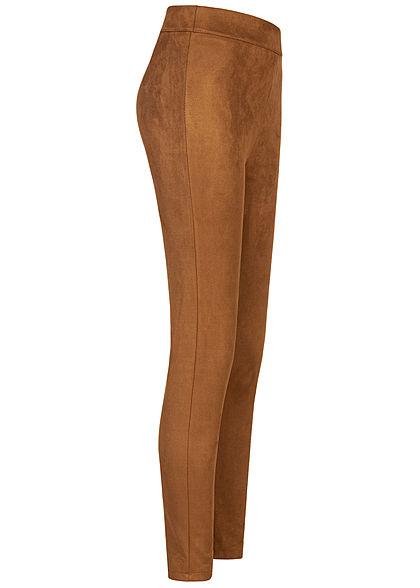 Hailys Damen Kunstleder Leggings in Velour Optik breiter Bund camel braun