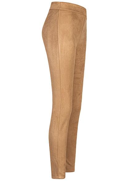 Hailys Damen Kunstleder Leggings in Velour Optik breiter Bund beige