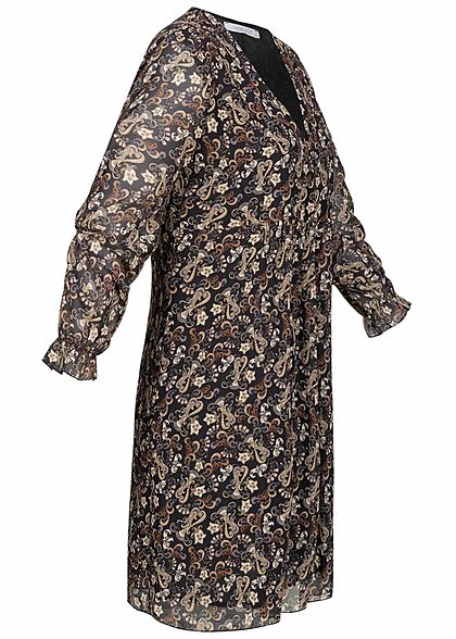 Hailys Damen V-Neck Chiffon Puffer Kleid Paisley Print 2-lagig schwarz beige braun