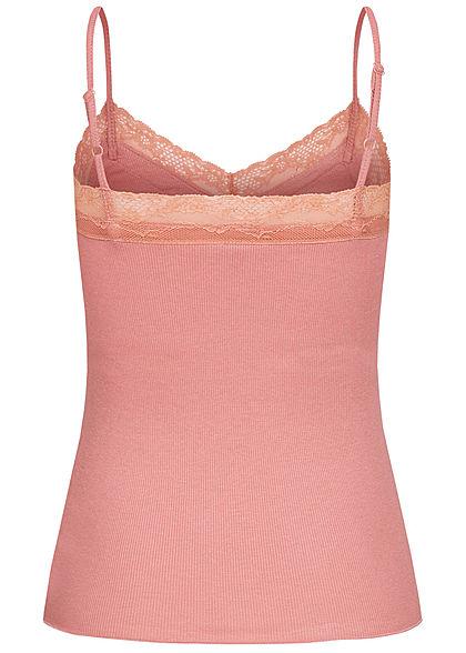 Hailys Damen Ribbed V-Neck Top mit Spitzeneinsatz dusty rose dunkel pink