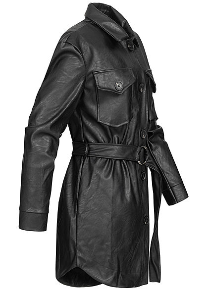 Hailys Damen leichter Mantel Kunstlederjacke Bindegürtel 2 Brusttaschen schwarz