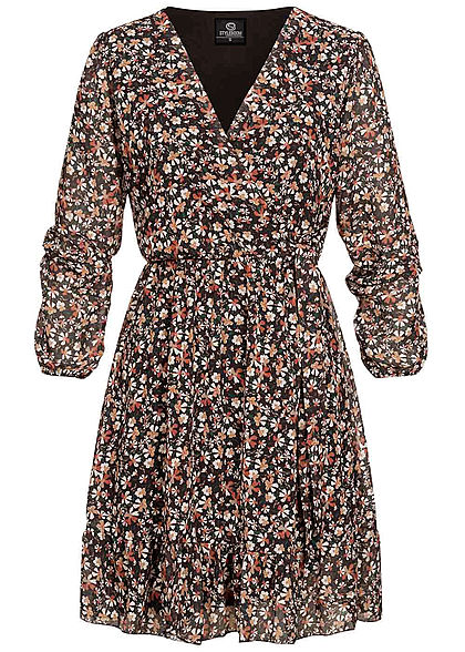 Styleboom Fashion Damen V Neck Chiffon Kleid Blumen Muster Wickeloptik Schwarz Mc