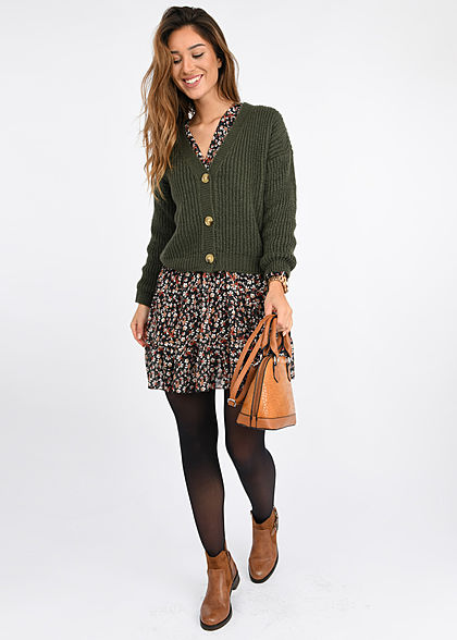 Styleboom Fashion Damen V-Neck Chiffon Kleid Blumen Muster Wickeloptik schwarz mc