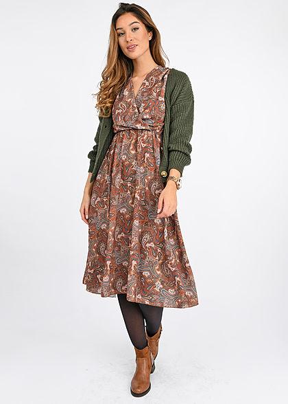 Hailys Damen V-Neck 1/2 Arm Midi Kleid Wickeloptik Paisley Print toffee braun
