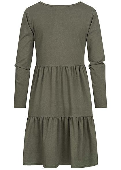 Hailys Damen Puffer Kleid im Stufenrock unicolor khaki grün