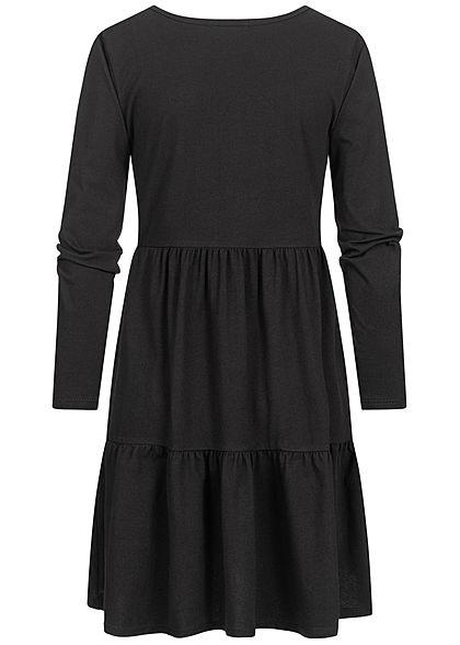 Hailys Damen Puffer Kleid im Stufenrock unicolor schwarz