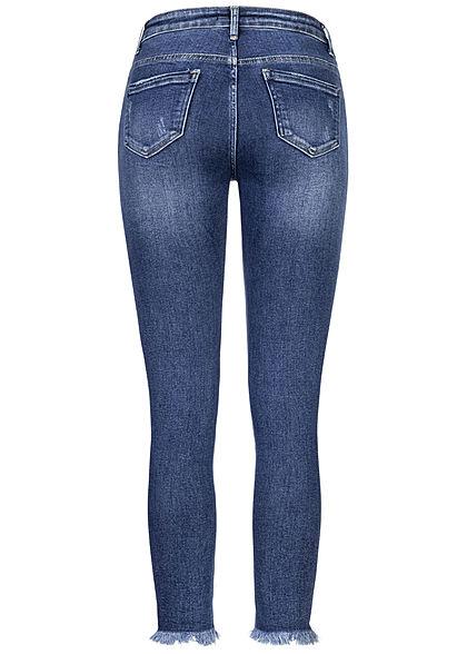 Hailys Damen Mid Waist Skinny Jeans Hose 5-Pockets Destroy Effekte am Saum med. blau den
