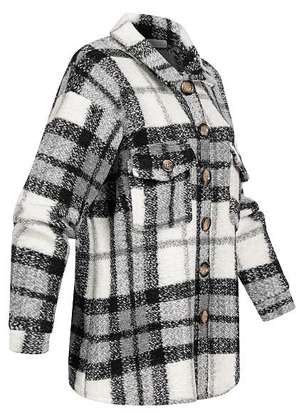 Hailys Damen Oversized Woll Jacke Karo Muster Knopfleiste 2 Brusttaschen schwarz weiss