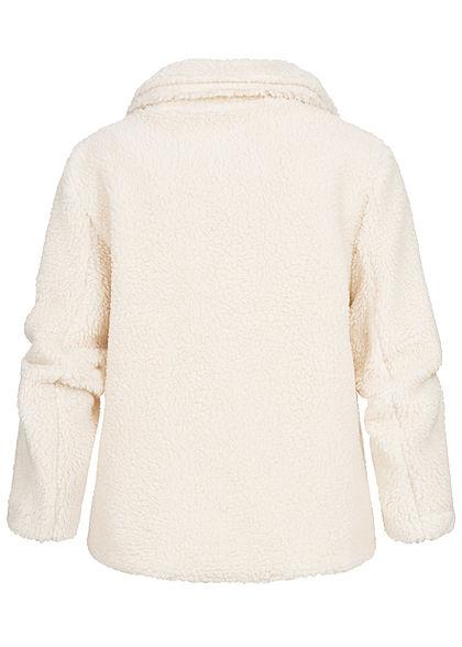 Hailys Damen Teddyfell Jacke Knopfleiste 2-Pockets Kunstfell cream beige