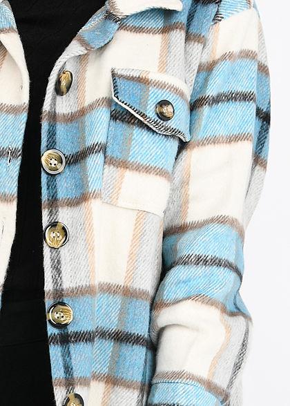 Hailys Damen Soft-Touch Hemd Jacke 2 Brusttaschen Karo Muster petrol blau weiss