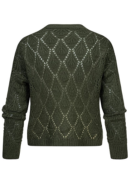 Hailys Damen V-Neck Grobstrick Kurz Cardigan Knopfleiste khaki grün