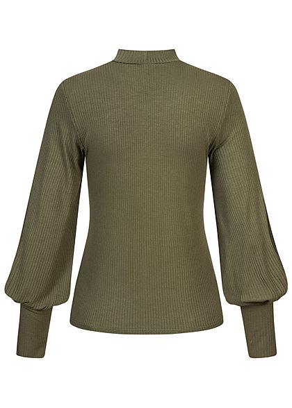 Hailys Damen High-Neck Ribbed Longsleeve Pullover Ballonärmel khaki grün