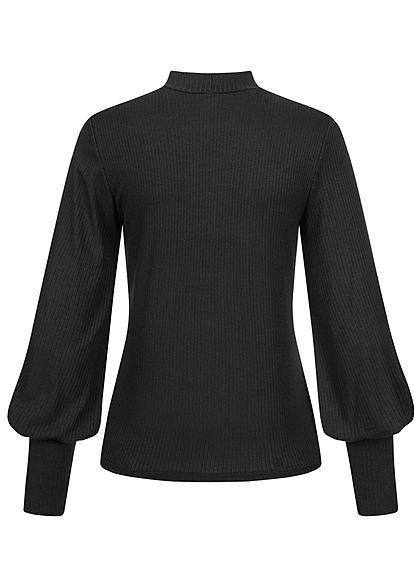 Hailys Damen High-Neck Ribbed Longsleeve Pullover Ballonärmel schwarz