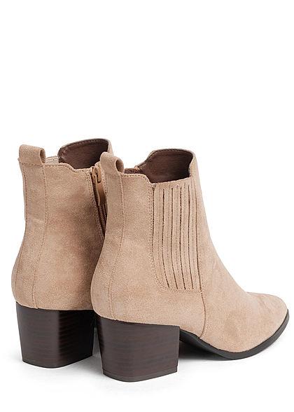 Hailys Damen Schuh Kunstleder Halbstiefelette in Velouroptik Absatz 6cm Zipper beige