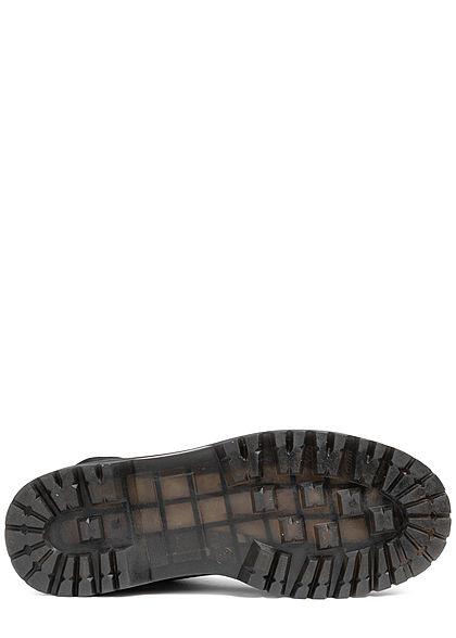 Seventyseven Lifestyle Damen Schuh Workerboots Velouroptik Schnürstiefel schwarz