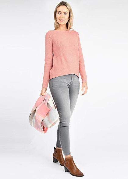 Tom Tailor Damen Viskose Strickpullover Sweater Vokuhila light aurora rose mel