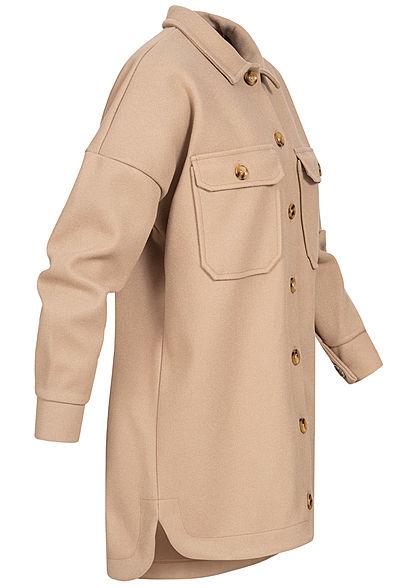 Hailys Damen Oversized Shacket Jacke 2 Brusttaschen Knopfleiste beige