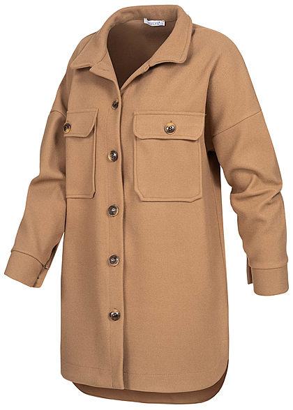 Hailys Damen Oversized Shacket Jacke 2 Brusttaschen Knopfleiste camel braun