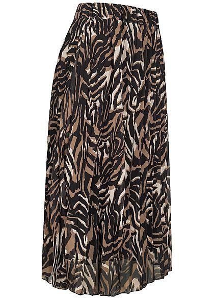 Hailys Damen Midi Chiffon Faltenrock im Zebra Design 2-lagig camel braun schwarz
