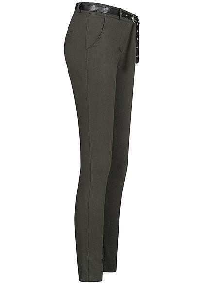 Hailys Damen Stoffhose inkl. Kunstleder Gürtel 2-Pockets Beinumschlag dunkel khaki grün