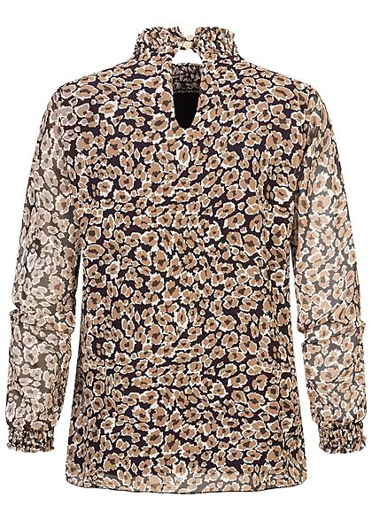 Hailys Damen Choker Chiffon Bluse 2-lagig mit Raffbund Blumen Print schwarz braun