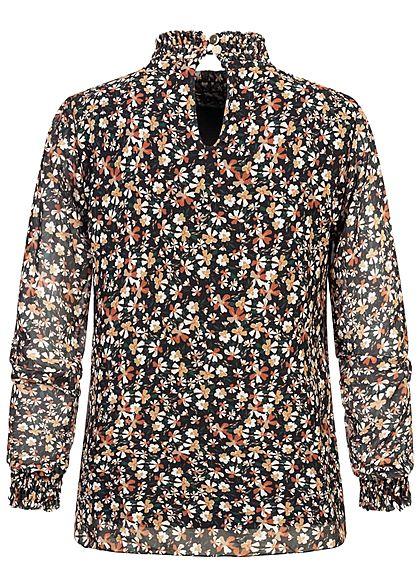 Hailys Damen Choker Chiffon Bluse 2-lagig mit Raffbund Blumen Print schwarz rot braun