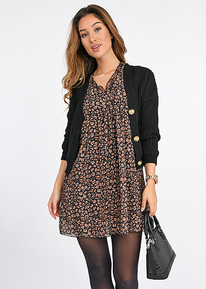 Hailys Damen V-Neck 7/8 Arm Puffer Chiffon Mini Kleid Floraler Print schwarz braun